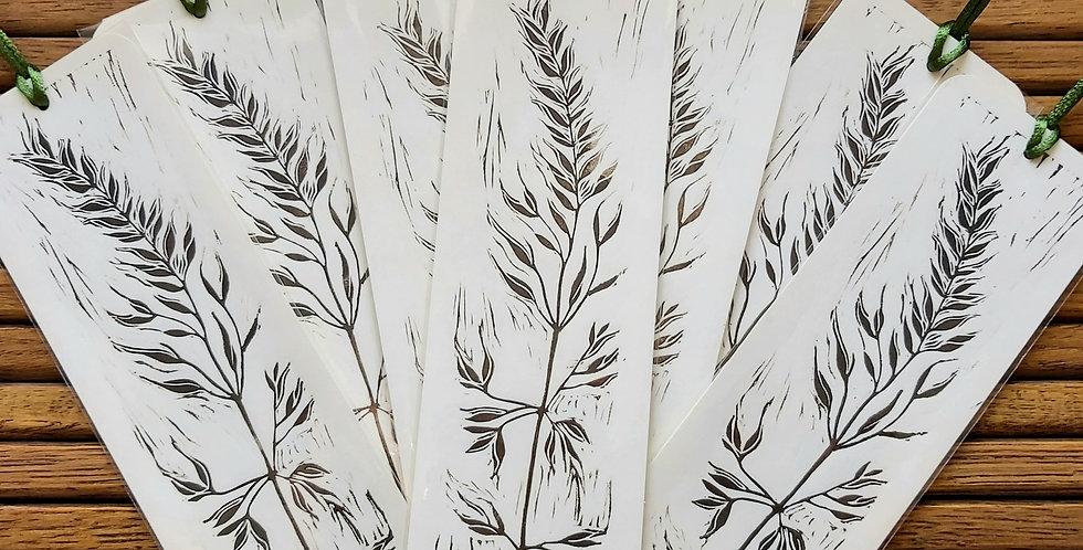 Handprinted grass bookmark