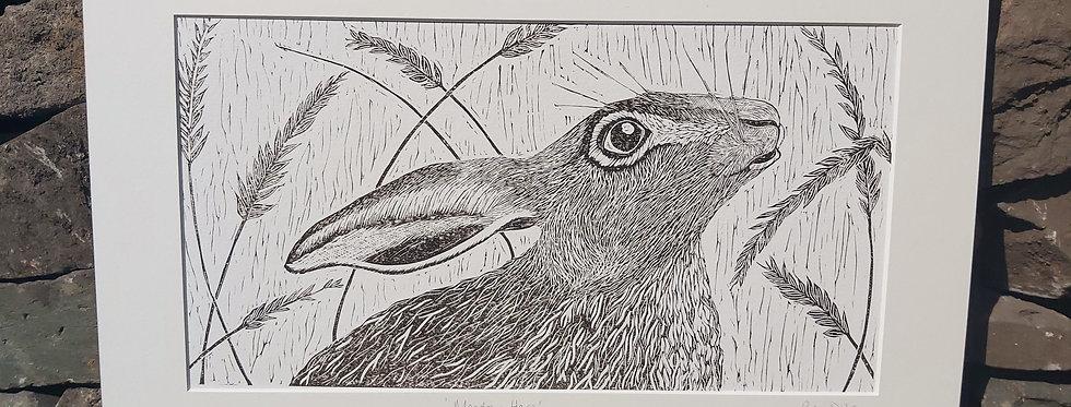 'Meadow Hare' -handprinted linocut
