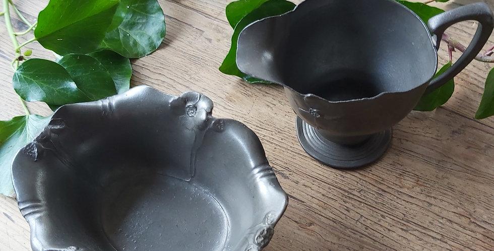 Kayserzinn pewter sugar bowl and creamer