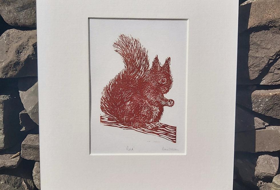'Red' - handprinted linocut