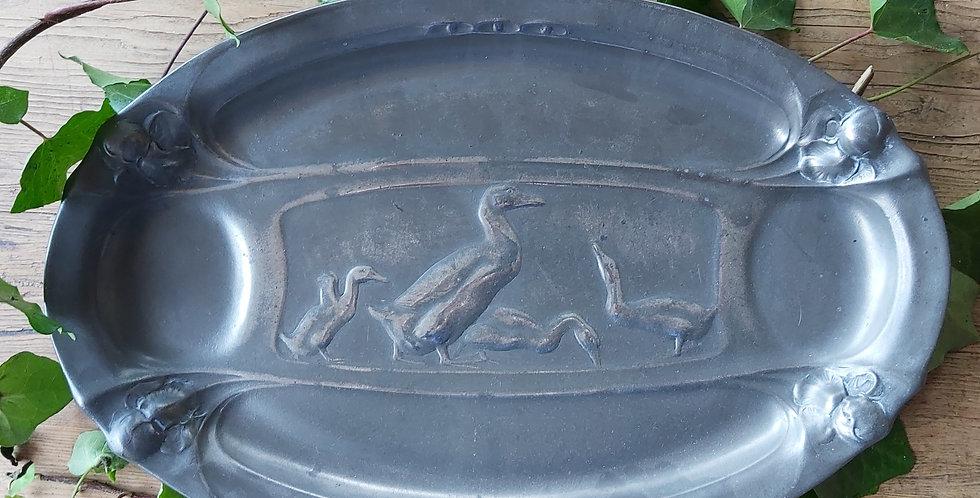 Kayserzinn Pewter Platter with Ducks/Geese