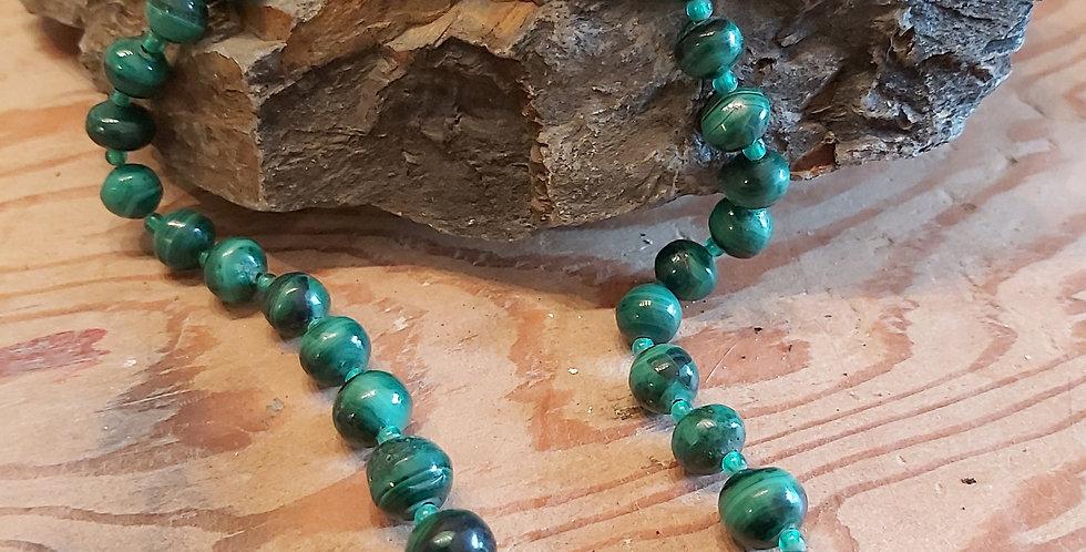 Vintage malachite and glass beads