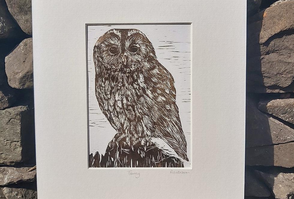 'Tawny' - handprinted linocut