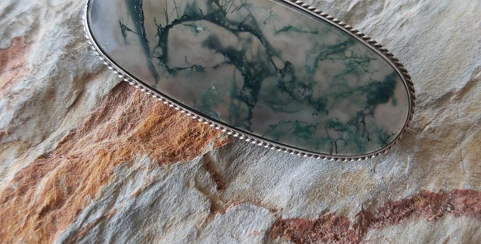 Moss agate brooch