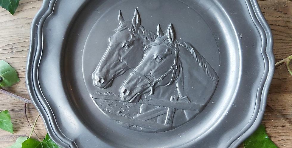 Vintage pewter horse plaque