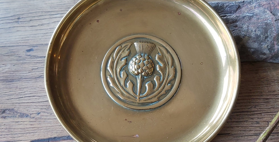 Antique brass pin dish with Scottish thistle design