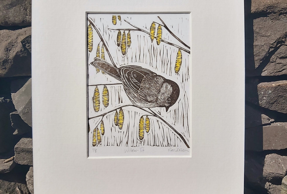 'Willow Tit' - limited edition handprinted linocut