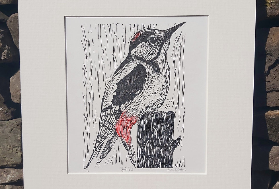 'Spotted' - limited edition handprinted linocut