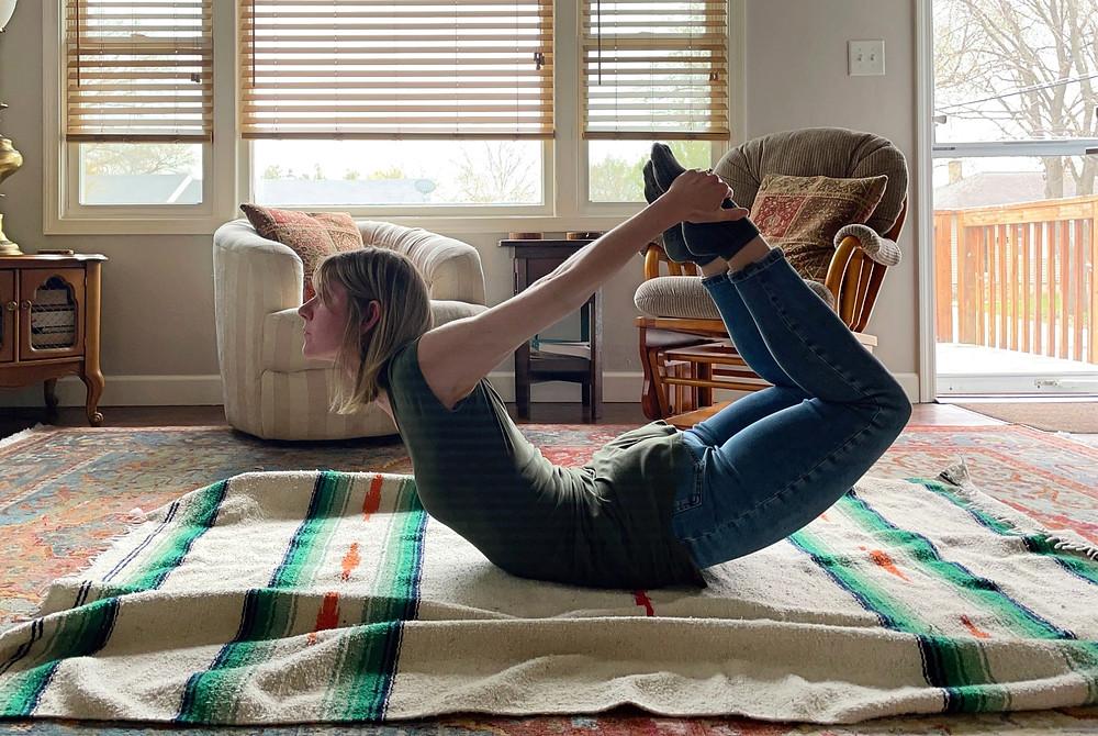 Bow pose - yoga pose - at home yoga