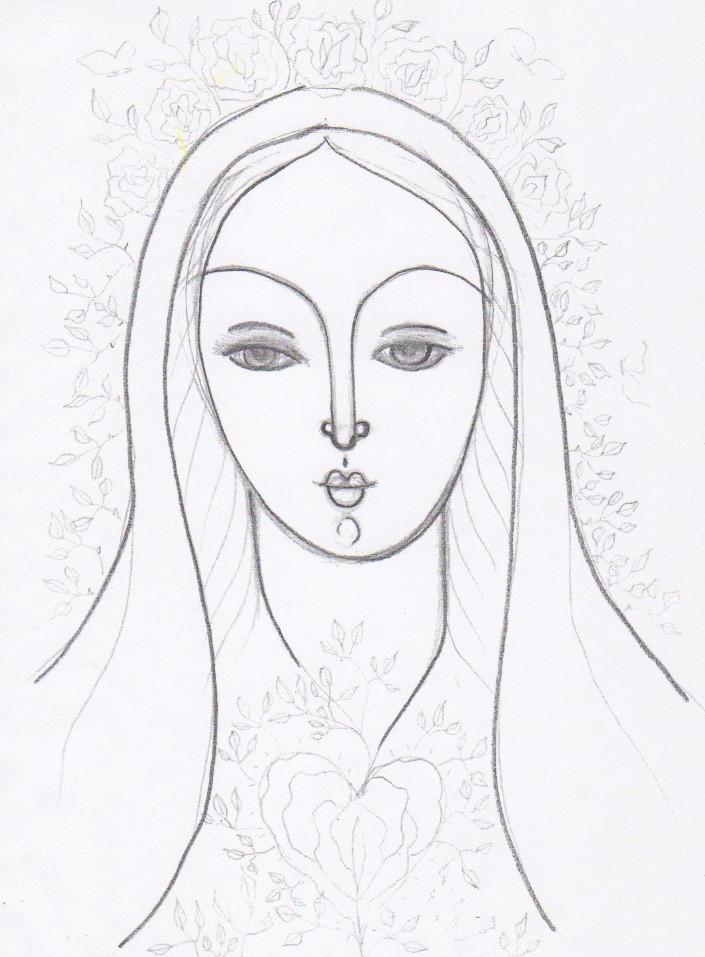 Magdalene Drawing by Tanya Torres