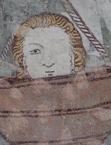 Detail, Evang. Kirche Waltensburg/Vuorz, Aussenfassade
