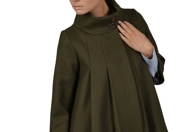 SasKia (Oversized Stand Collar Swing Coat)