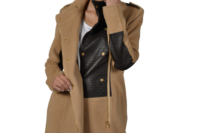 Zipp (Asymmetric Leather & Zipper Trim coat)