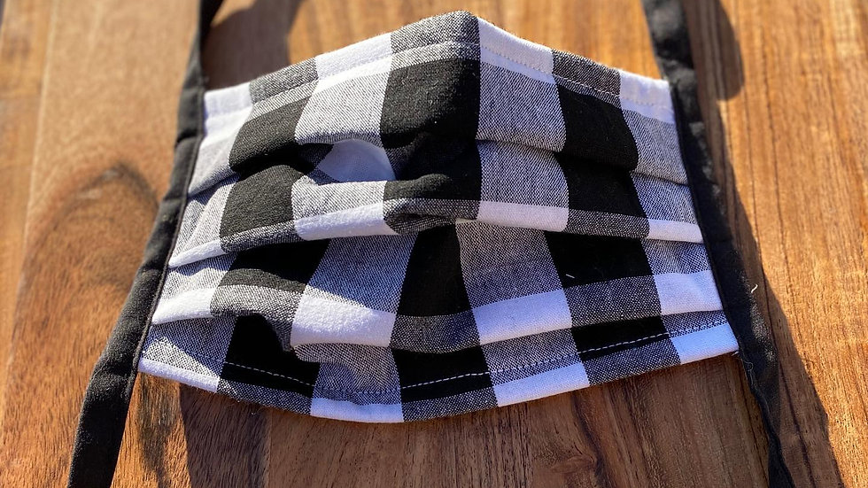 BLACK AND WHITE GINGHAM MASK KIDS ONLY