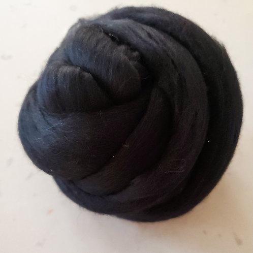 1lb Black Merino Wool Roving