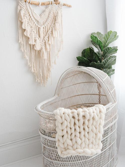Cream Chunky Knit Baby Blanket