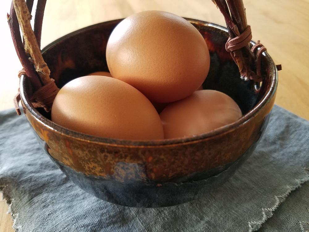 farm eggs in basket