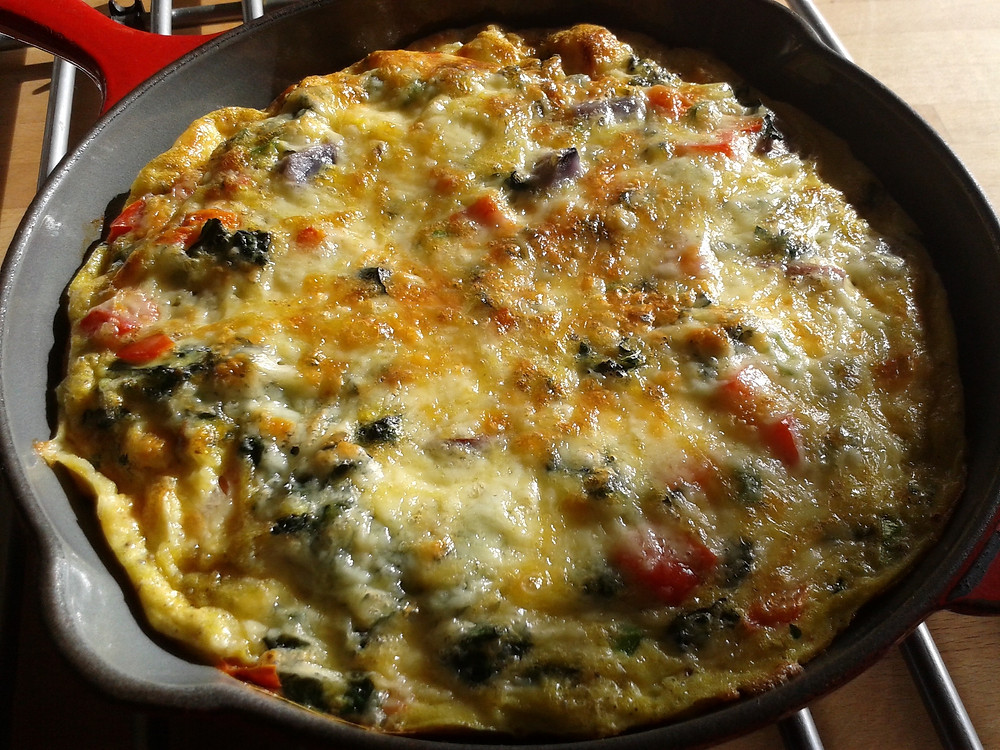 Frittata in cast iron pan