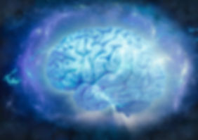 Human brain wrapped in blue energy field