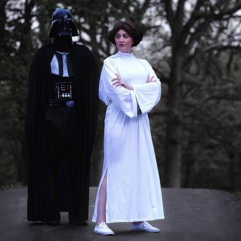 Princess Leia Organa and Darth Vader