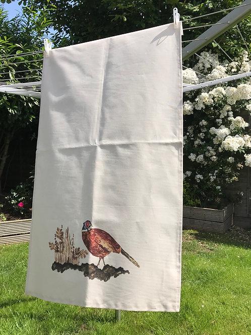 Beady Eyed Pheasant tea towel