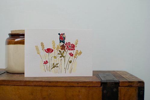 'Kiln lane poppy field' card