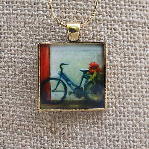 """Garden Delivery""  Gold Fine Art Pendant"