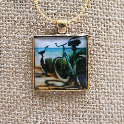 """Beach Boardwalk"" Gold Fine Art Pendant"