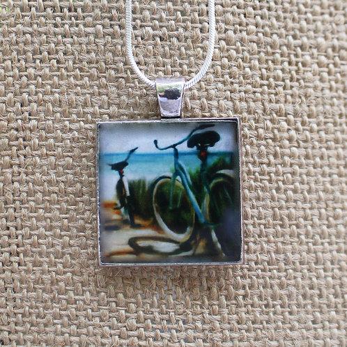 """""""Beach Boardwalk"""" Silver Fine Art Pendant"""
