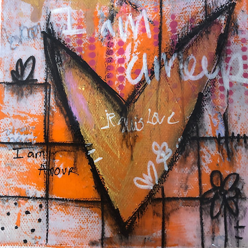 """""""I am Amour"""" 6x6 mixed-media on canvas"""