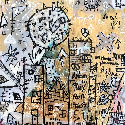 """Utopia"" (4) 6x6 mixed-media on canvas"