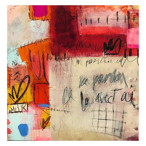 """""""Fleur d'Amour""""(1) acrylic & mixed-media on canvas"""