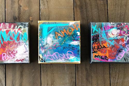 """Mini Amour""4x4 mixed-media on canvas"