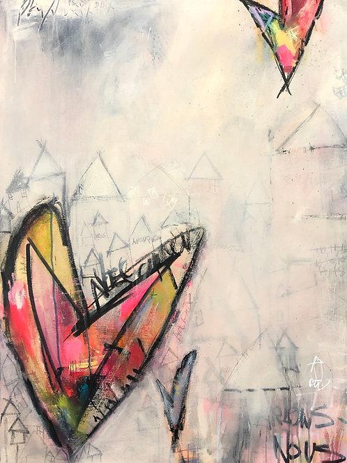 """""""Keep Your Hearts Home"""" 40x30 acrylic on canvas"""