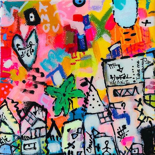 """Vacation Village""(4) 6x6 acrylic on canvas"