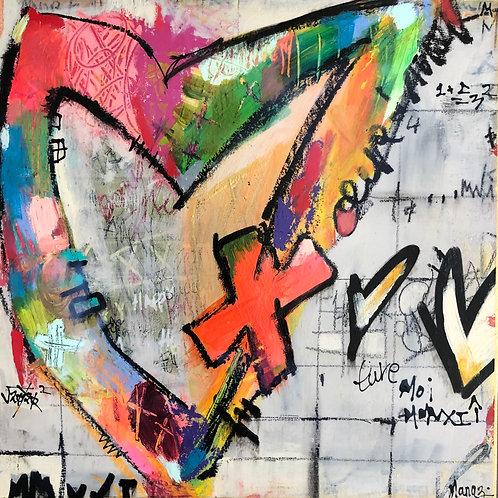 """Heart Moi"" 12x12 mixed-media on wood panel"
