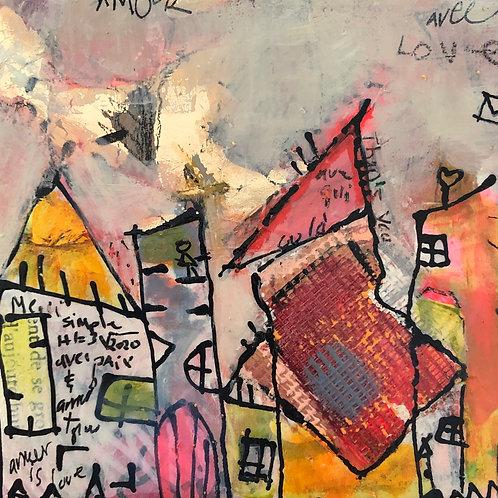 """""""Token of Gratitude"""" (2) 5x5 mixed-media on wood panel"""