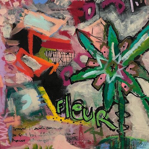 """Covid Fleur"" 6x6 mixed-media on board (2)"