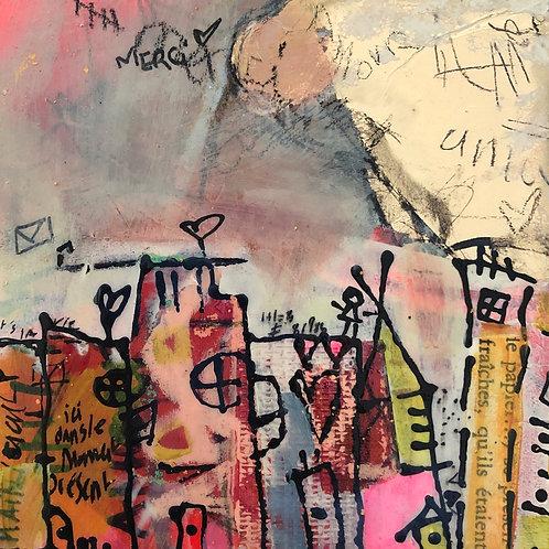 """""""Token of Gratitude"""" (4) 5x5 mixed-media on wood panel"""