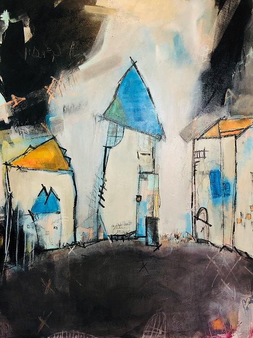 """Chicken Street"" 48x36 acrylic on canvas"