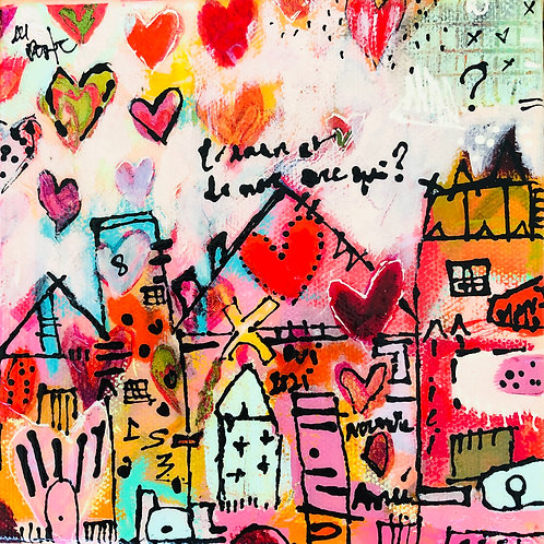 """Heart 2020"" (2) 6x6 mixed-media on canvas"