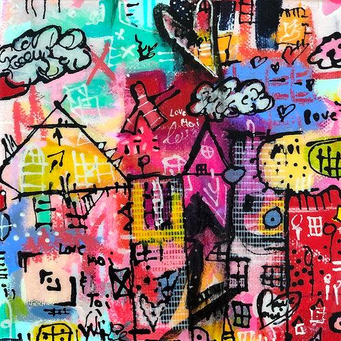 """Love Moi"" (4) 6x6mixed-media on canvas"