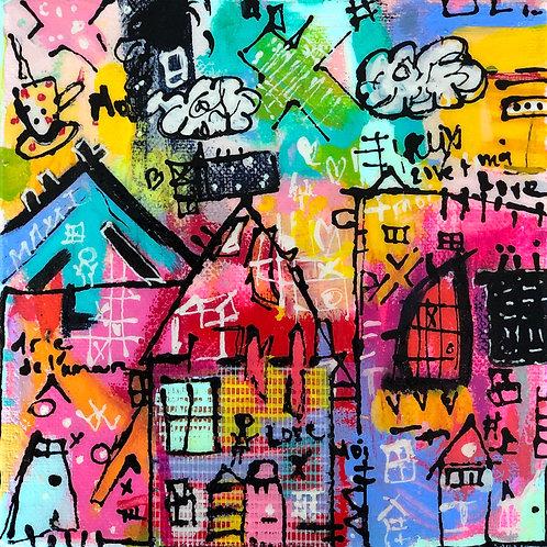 """Love Moi"" (3) 6x6 mixed-media on canvas"