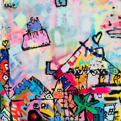"""Vacation Village""(3) 6x6 acrylic on canvas"