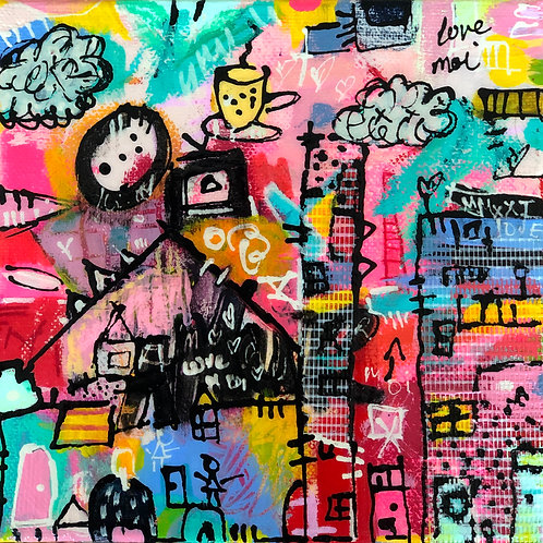 """Love Moi"" (2) 6x6 mixed-media on canvas"