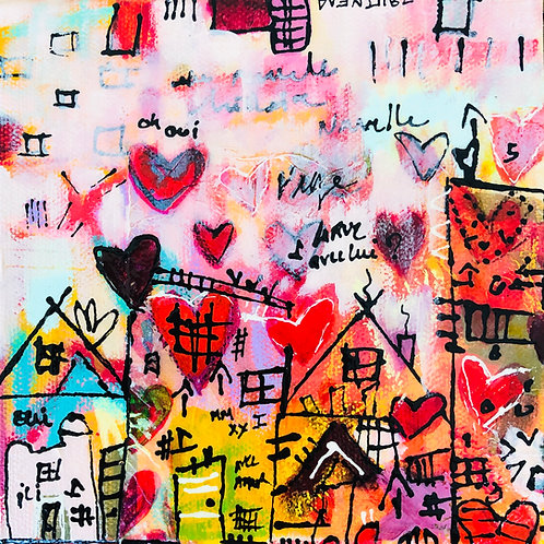 """Heart 2020"" (3) 6x6 mixed-media on canvas"