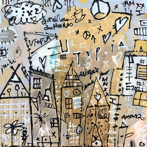 """Utopia"" (1) 6x6 mixed-media on canvas"