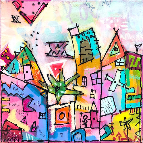 """Heart Village"" (3) 6x6 acrylic on canvas"