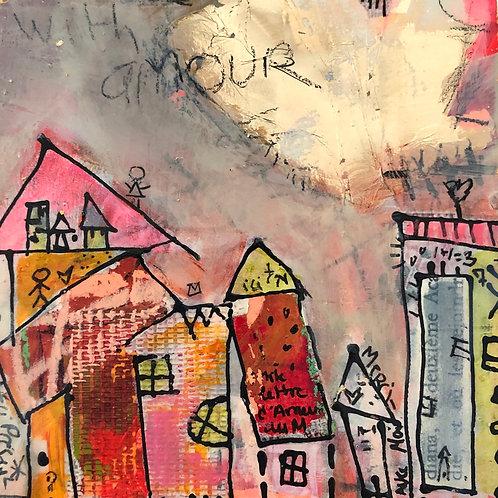 """""""Token of Gratitude"""" (5) 5x5 mixed-media on wood panel"""
