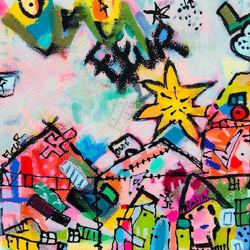 """Vacation Village""(1) 6x6 acrylic on canvas"